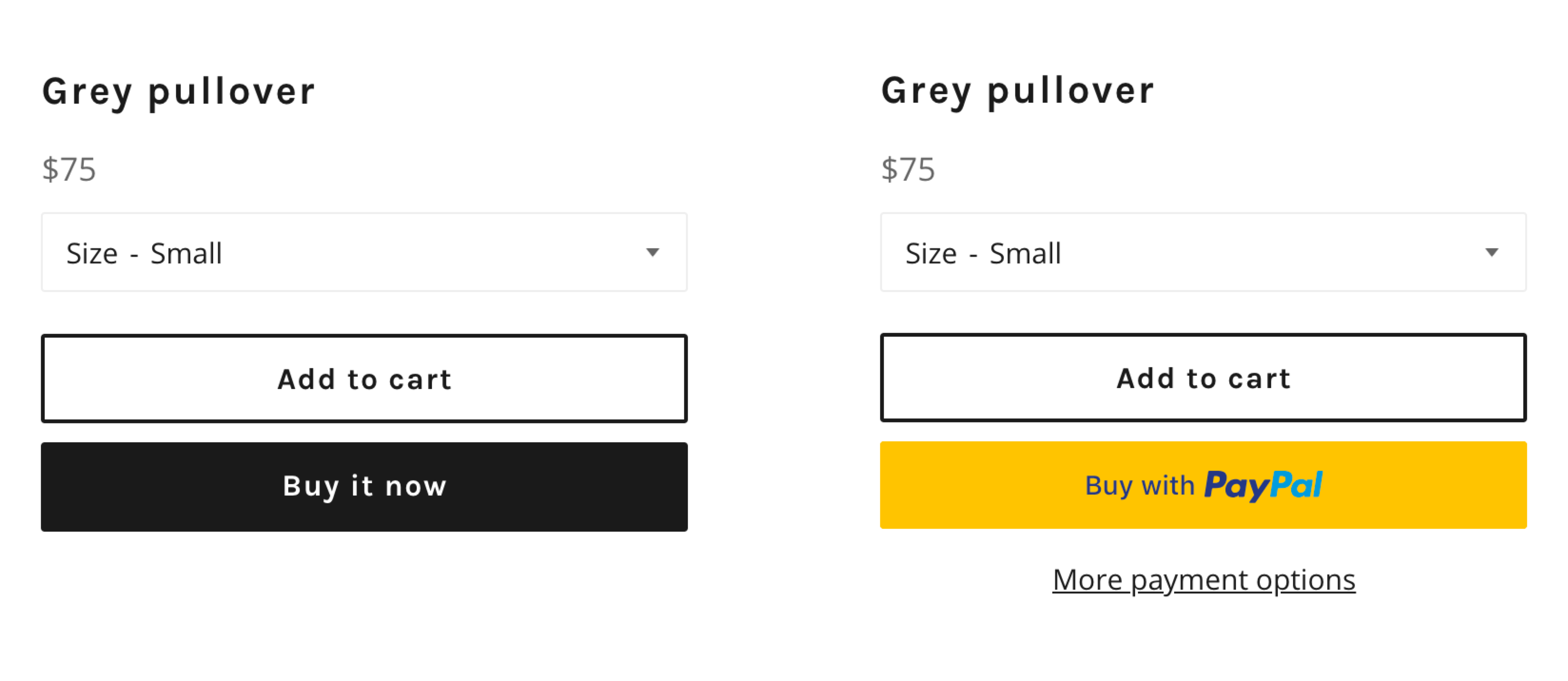 Example of Shopify Dynamic Checkout buttons