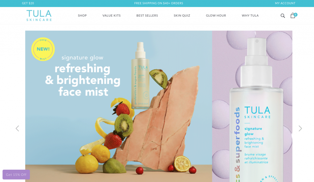 Screenshot of TULA Skincare's website homepage