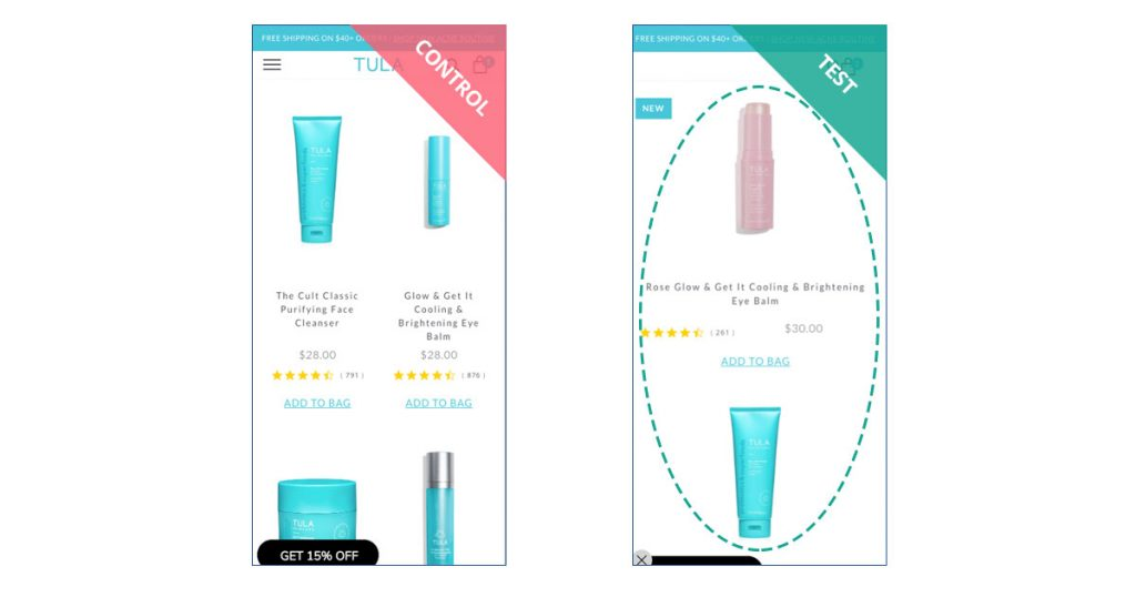 TULA Skincare product listing page experiments