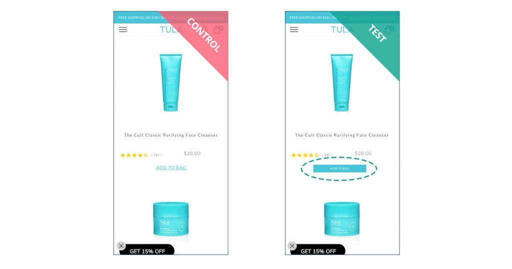 TULA Skincare CTA experiment