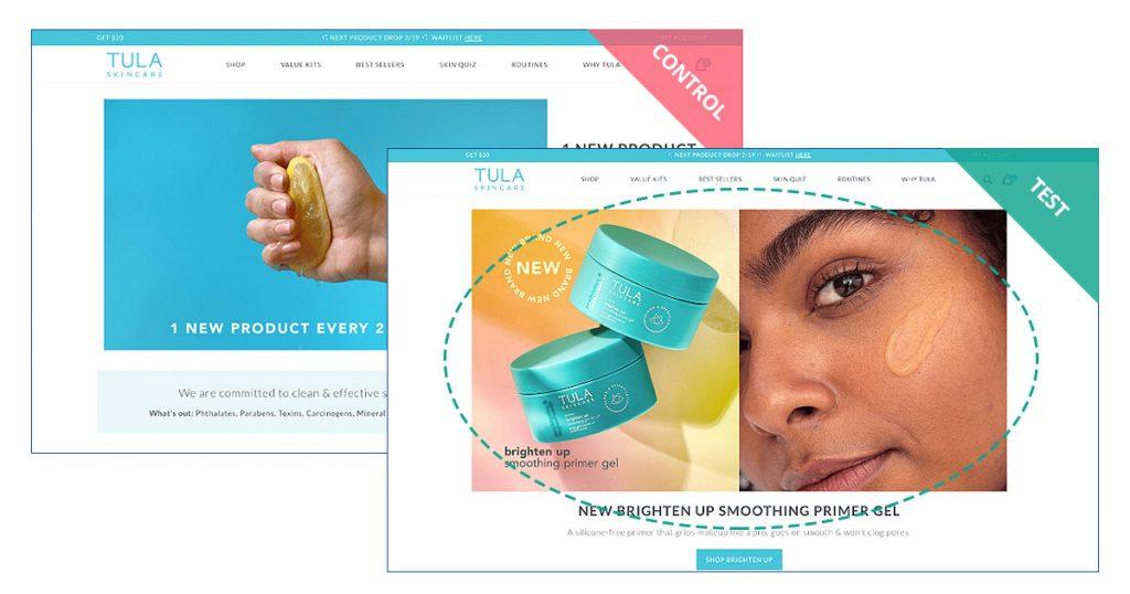 TULA Skincare Homepage experiment
