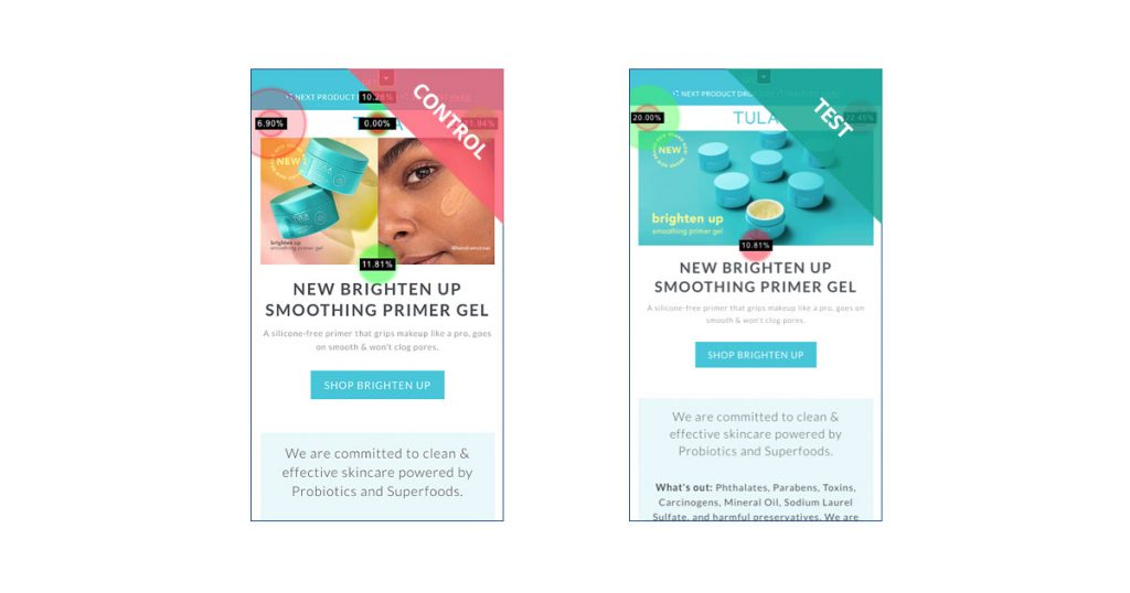 TULA Skincare Mobile vs Desktop hero image experiments