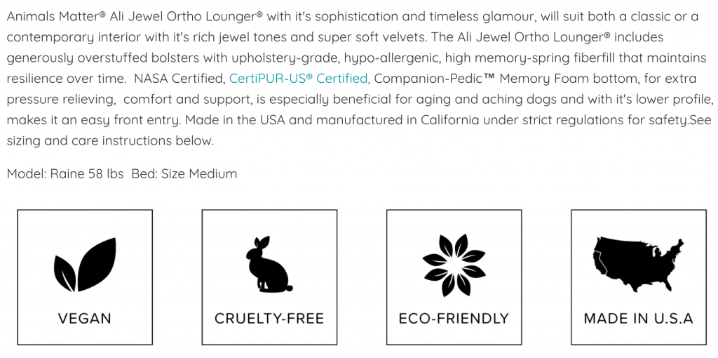 Animals Matter product description page example with text and icons