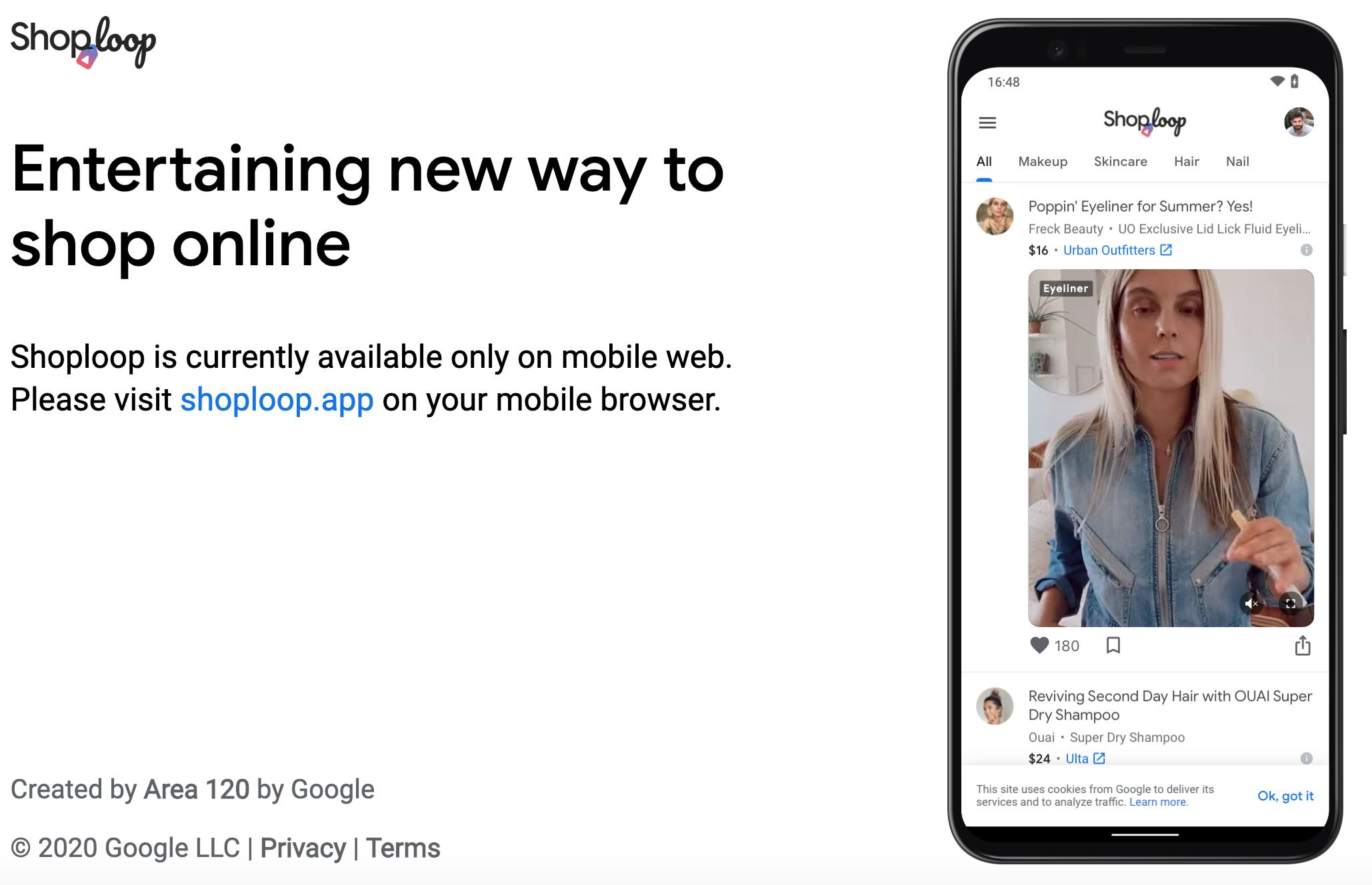 Google Shoploop website screenshot