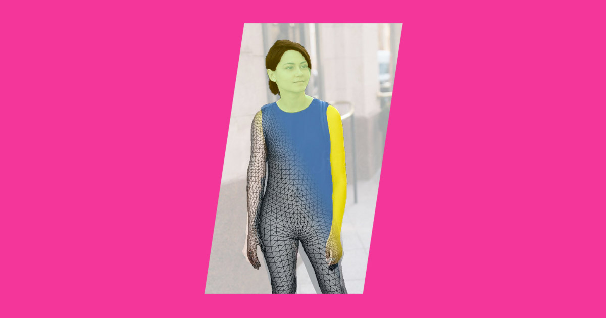 Young woman overlaid with geometric grid as used by Forma 'try on' tech