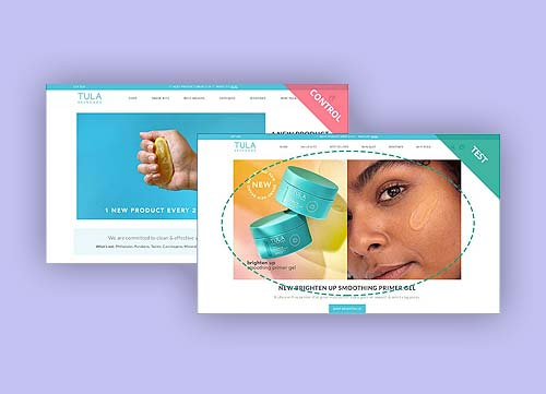 Image of two different versions of TULA Skincare's website