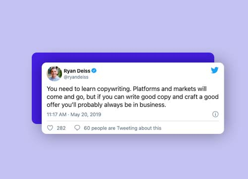 Image of a Tweet by Ryan Deiss about importance of copywriting