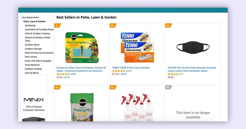 Example of best selling product recommendations on Amazon