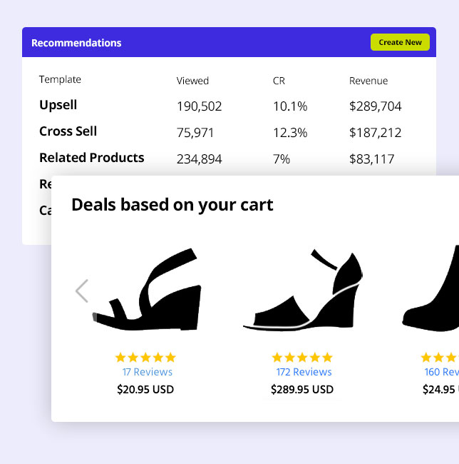 Example screenshot of HiConversion's product recommendation dashboard