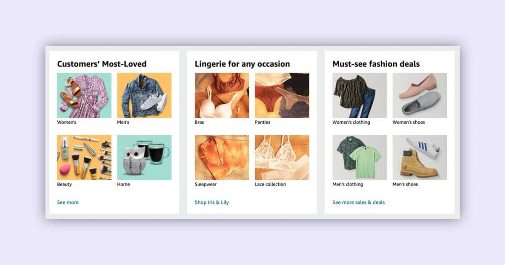 Example of popular categories recommendations of Amazon