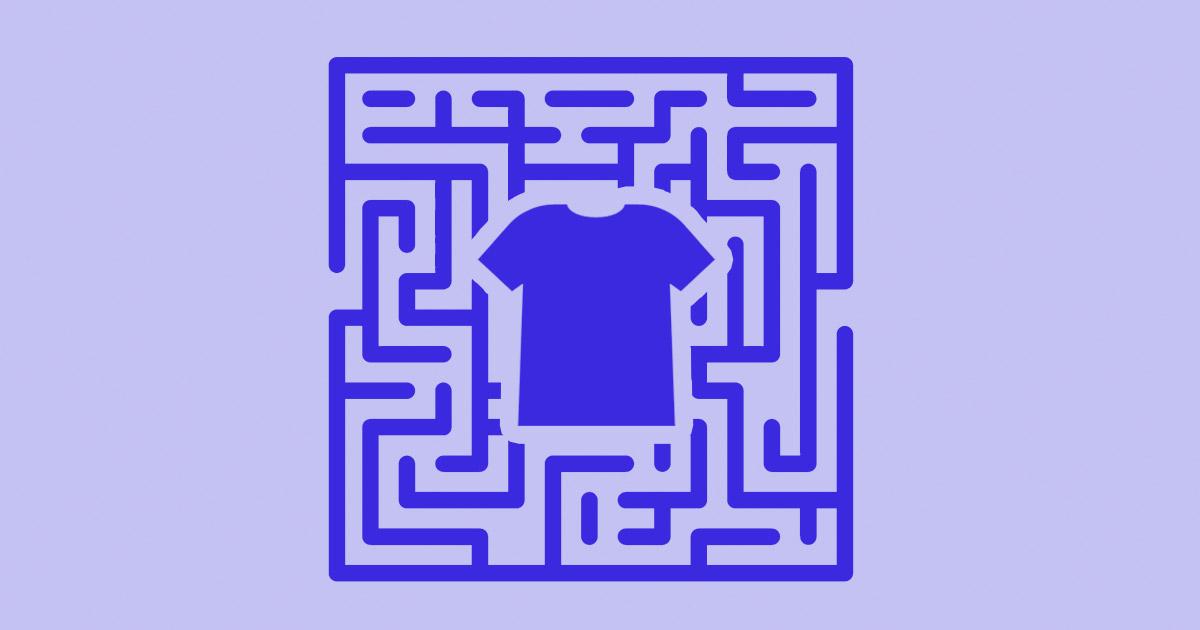 Illustration of t-shirt inside a maze