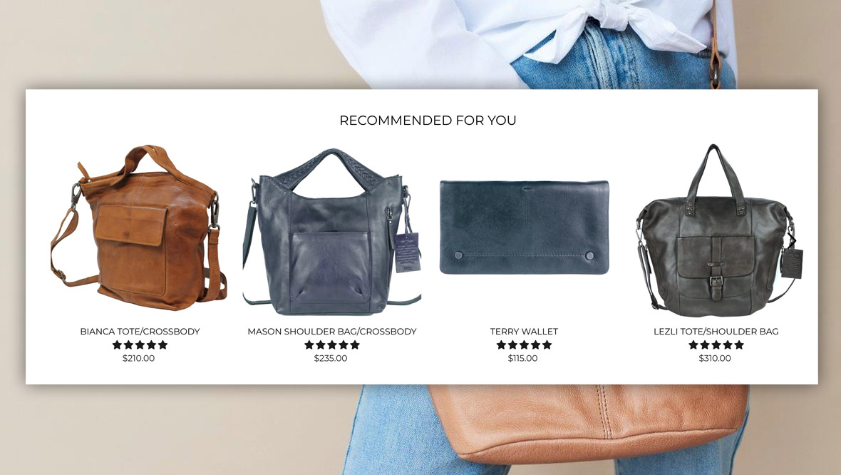 Screenshot of recommended products on the Latico Leathers website