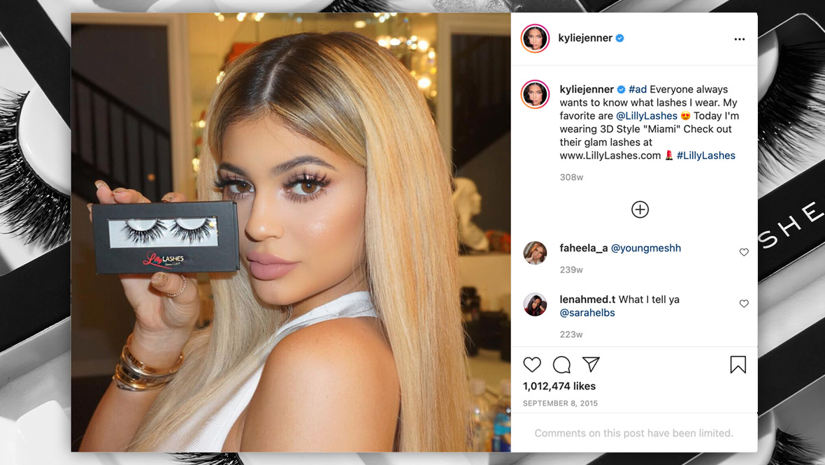 Photo of Kylie Jenner promoting Lilly Lashes' products