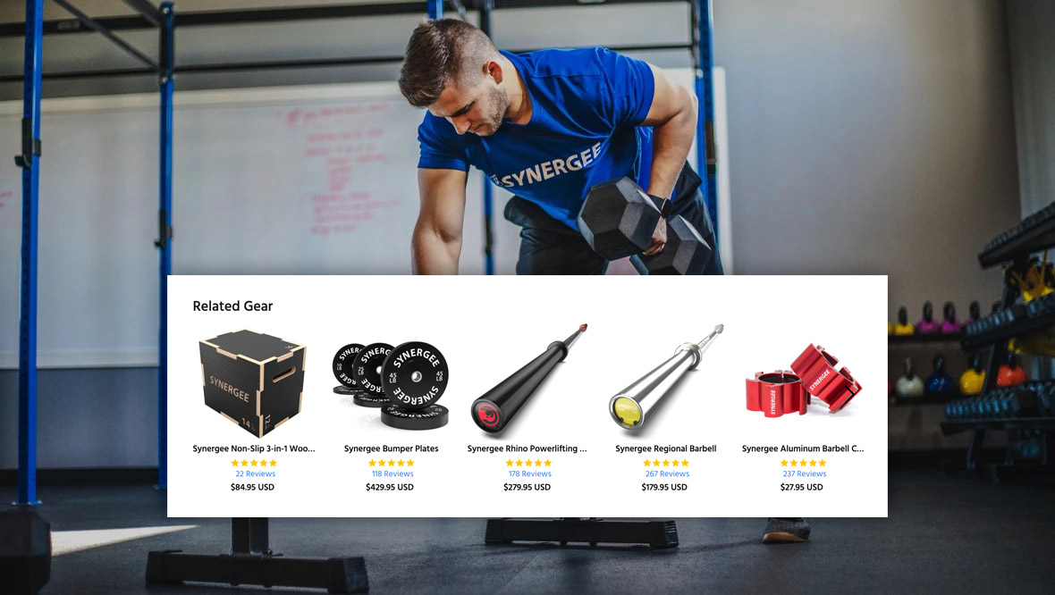 Photo of person using Synergee's barbell product