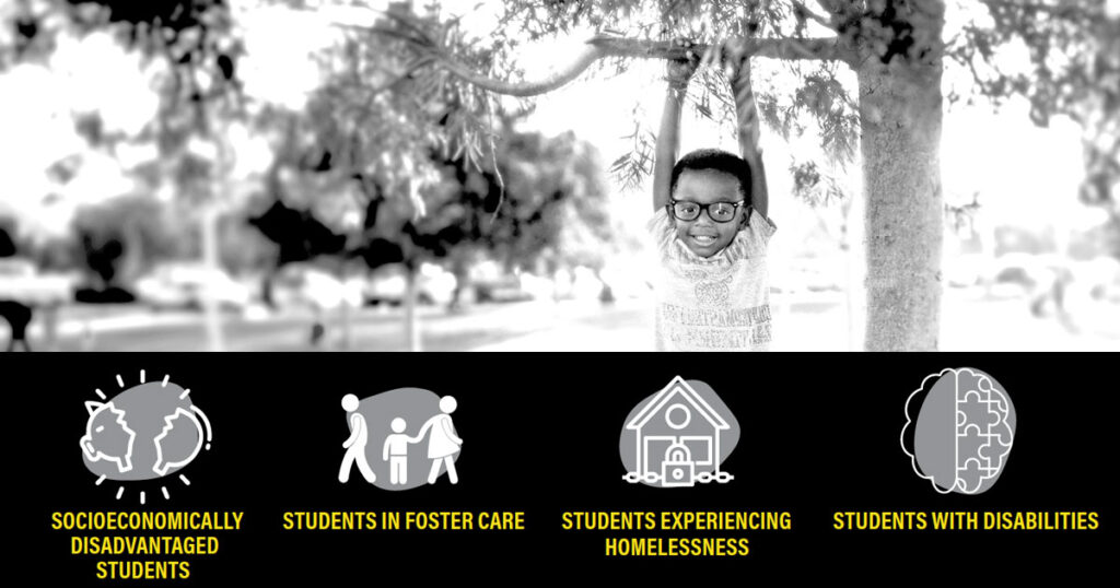Special Populations: Socioeconomically disadvantaged students, students in foster care, students experiencing homelessness, students with disabilities