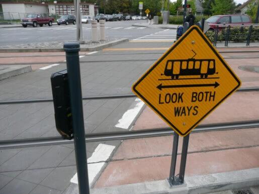Look Both Ways Streetcar Sign