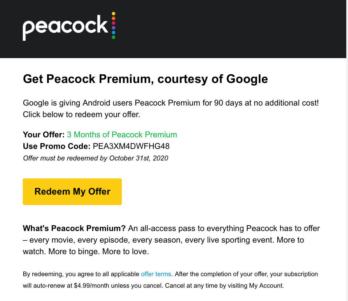 Peacock will send you an email to confirm.