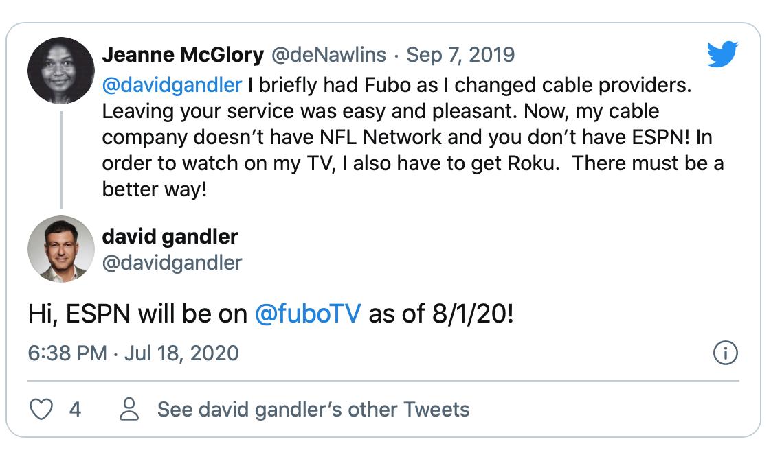 Gandler confirms Fubo V and ESPN