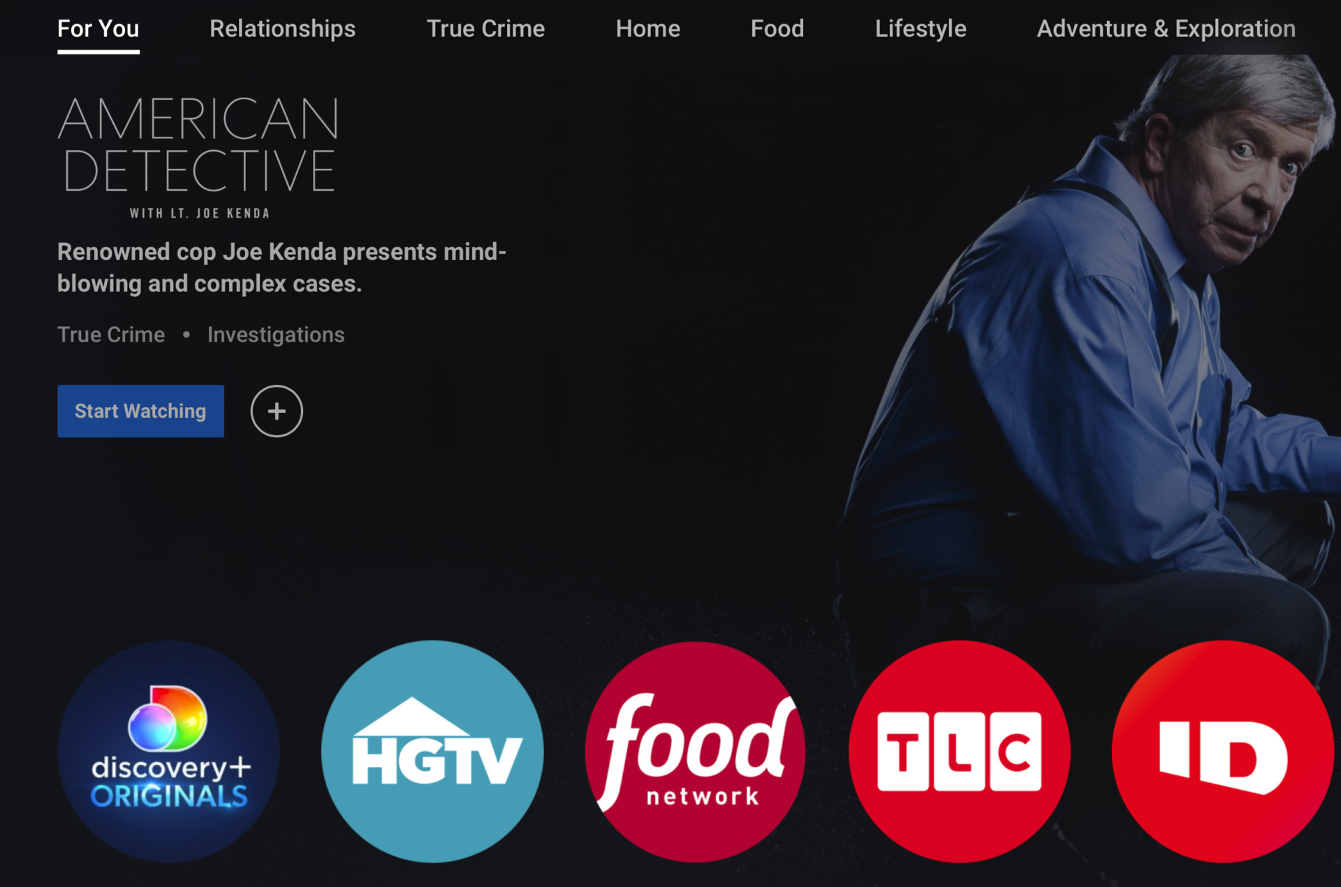 Discovery Plus page