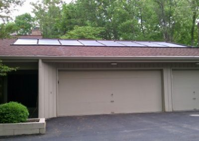 Solar Pool Heating on the roof of a garage