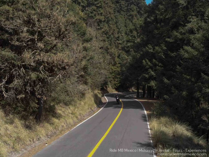 Motorcycle riding a curvy road in Mexico.