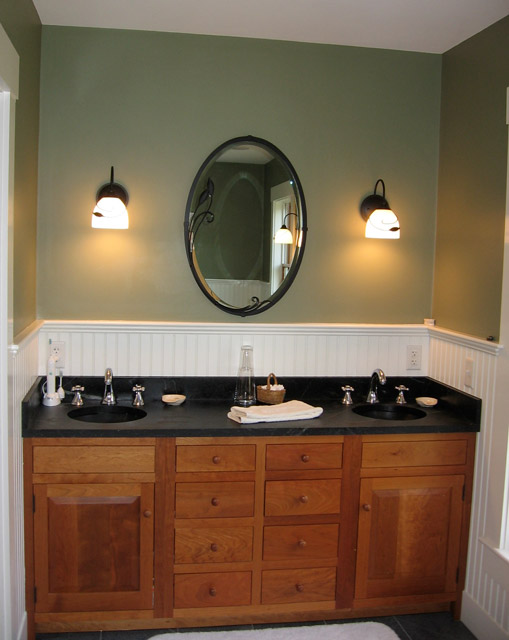 Vermont Soapstone worked with the homeowner to create these beautiful His & Her bathroom sinks.