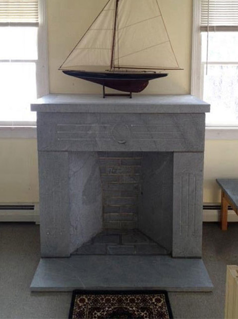 Vermont Soapstone carved fireplace and hearth