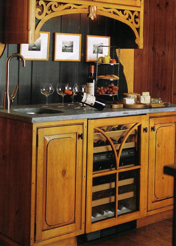 Vermont Soapstone countertop on a custom wine bar.