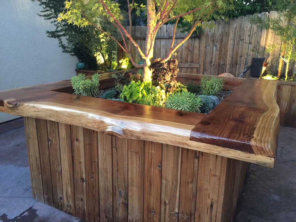 Custom Bar Top and Planters Installation by Lawn & Order