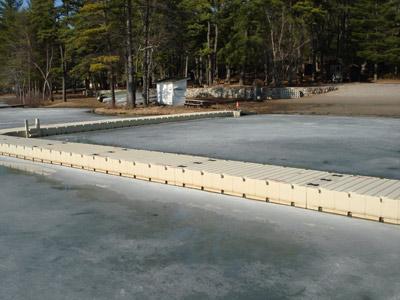 YMCA installation - EZ Dock on a frozen lake
