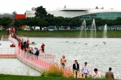 EZ Dock is used for a walkway across a half mile lake