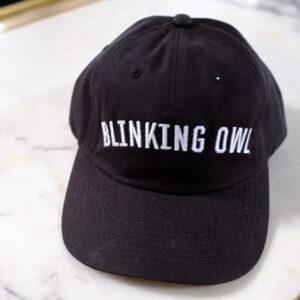 Blinking Owl Block Lettering hat in black