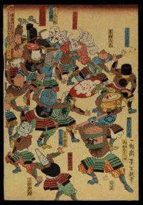 L0075414 A riot of samurai, their heads replaced by objects. Credit: Wellcome Library, London. Wellcome Images images@wellcome.ac.uk http://wellcomeimages.org A riot of samurai, their heads replaced by objects. Colour woodcut by Yoshitoshi, 1859.  The objects replacing the heads of the samurai include: tea-pot, mirror, sake bottle, sake cask. Woodcut 1859 By: Yoshitoshi TaisoPublished: month 8, 1859.  Copyrighted work available under Creative Commons Attribution only licence CC BY 4.0 http://creativecommons.org/licenses/by/4.0/