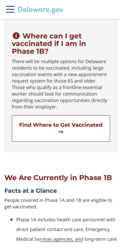 screenshot of delaware.gov regarding covid vaccination