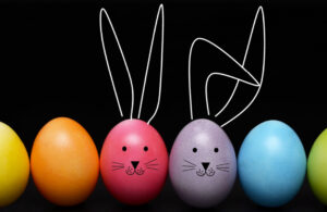 colorful easter eggs and bunny designs