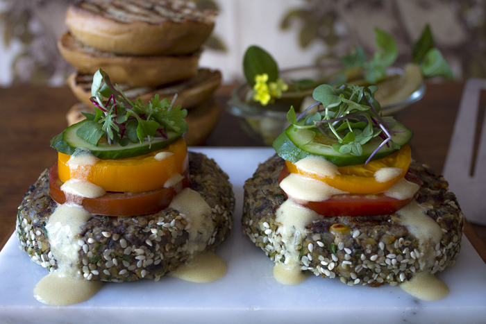 The burger is a blend of Portobello Mushrooms, Brown Rice, Chickpeas with Mushrooms and Spices