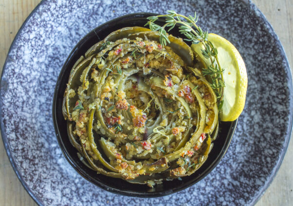 Spring Artichokes with Southern Spiced Cornbread Crumbs in a vintage bowl