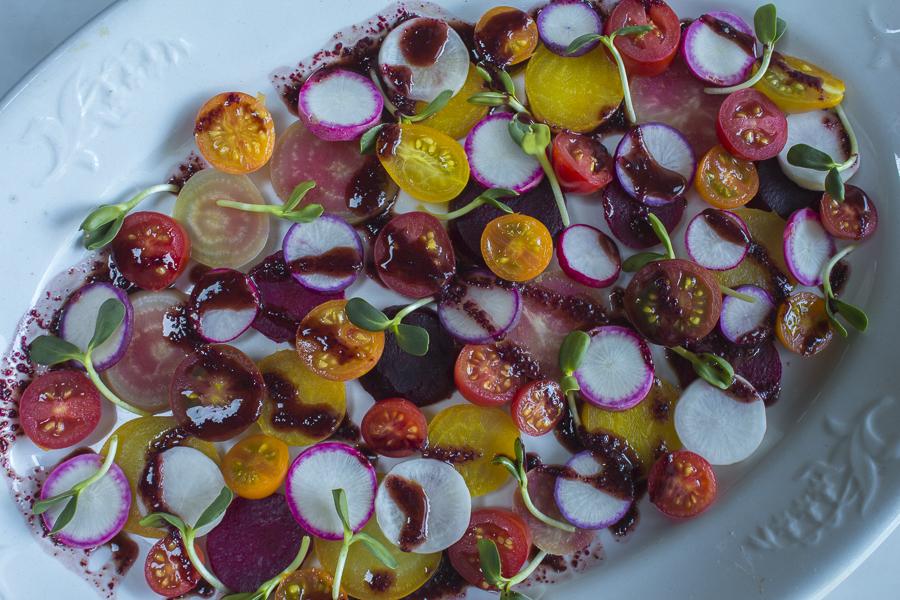 Beet, Tomato and Radish Salad ~ Beet Green Vinaigrette