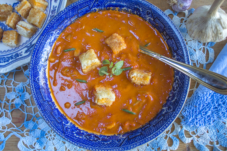 Rustic Tomato Soup with extra garlic and grilled cheese croutons