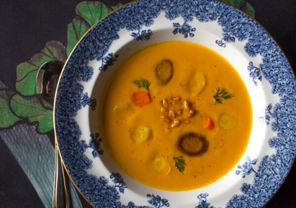 A satisfying and nutritious soup with creamy pine nuts blended in ~ warming and inviting.