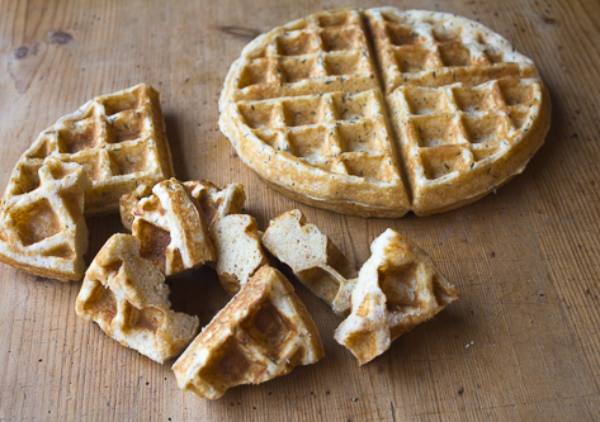 Delicious buttermilk waffles: Use as a base for appetizers – Karen's Southern Pecan Chicken & Waffles with Collard Sauté and Bourbon- Maple Drizzle.