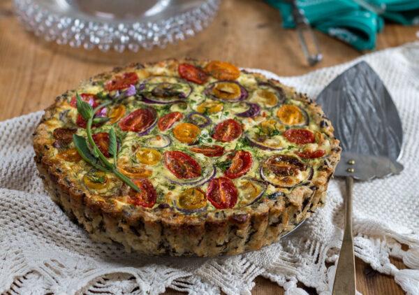 Spinach, Feta and Tomato Quiche with Wild & Brown Rice Crust