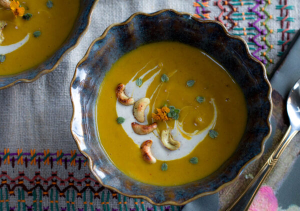 Kabocha Squash Soup with Apples and Cashew Crema - Vegan