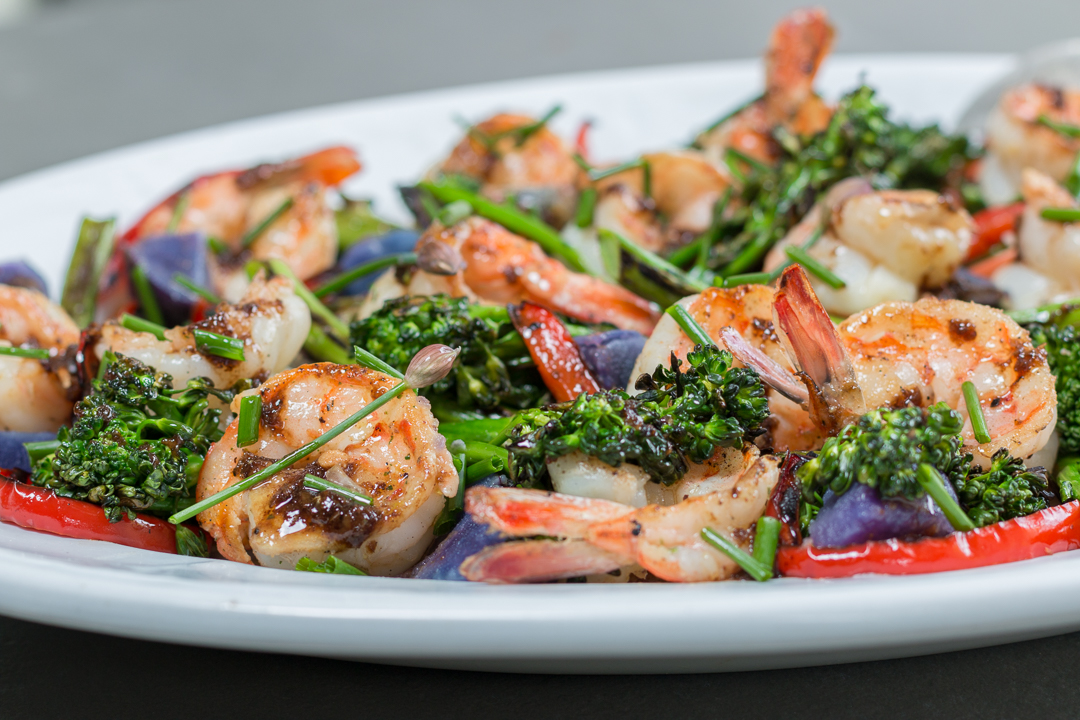 """Shrimp with Charred Brocollini and Shiitake """"Bacon"""" – Browned Butter Balsamic Drizzle"""