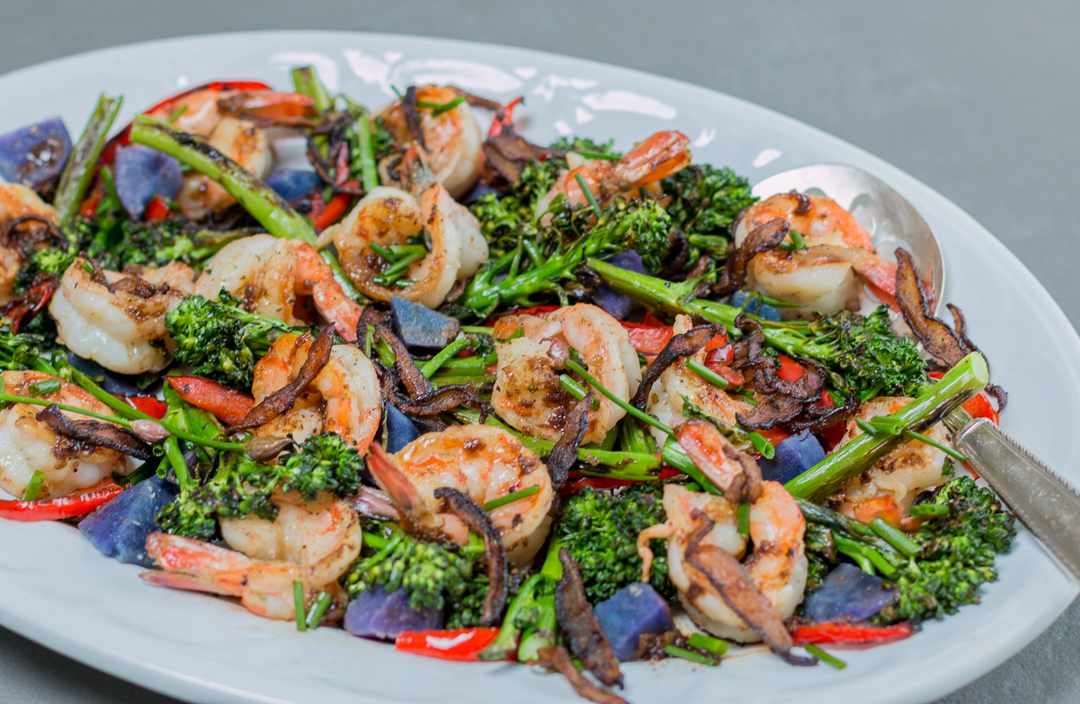 A skillet dish: Shrimp with Charred Brocollini and Shiitake