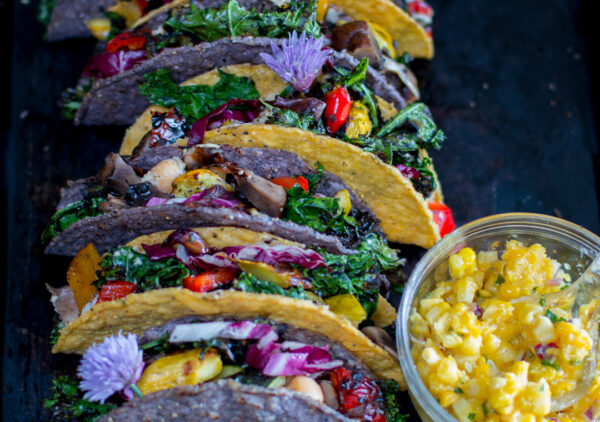 Hummus and Grilled Veggie Tacos with Corn Salsa