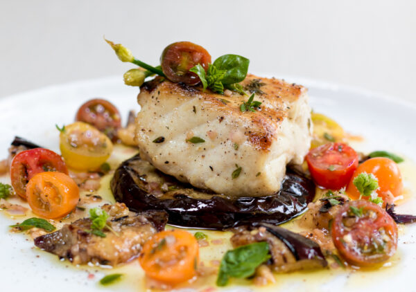 Grilled Sea Bass with Eggplant, Tomato & Herb Salad