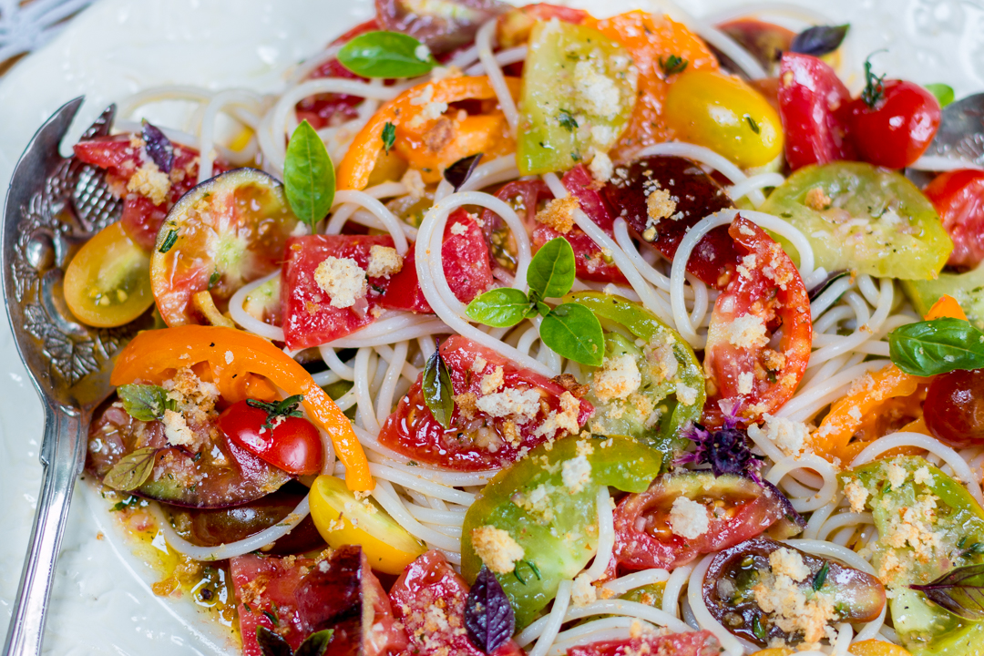 Heirloom Tomatoes Over Pasta with Garlic Breadcrumbs and Shallot-Thyme Vinaigrette