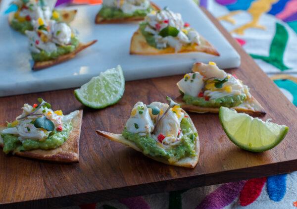 Crab Tostadas Bites with Avocado-Cucumber Mash