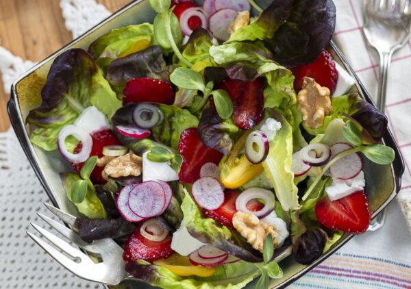 Summer Strawberry Salad with Walnuts, Feta and Maple-Walnut Vinaigrette